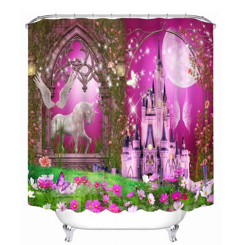 Dreamy Unicorn And Castle Printing Bathroom 3d Shower
