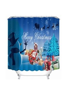 Cute Santa and Snowman Merry Christmas Printing Bathroom 3D Shower Curtain