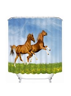 Two Horses Jumping Printing Bathroom 3D Shower Curtain