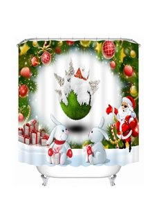 Santa with Sunglasses and Cute Rabbits Printing Christmas Theme Bathroom 3D Shower Curtain