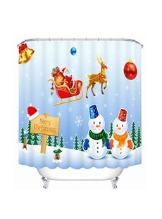 Snowmen Lovers and Santa Riding Reindeer Printing Bathroom 3D Shower Curtain