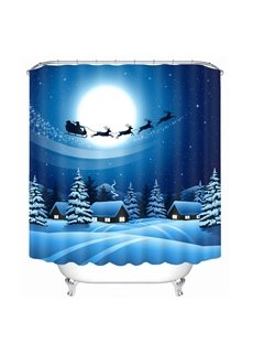 The Shadow of Santa Riding Reindeer Printing Christmas Theme Bathroom 3D Shower Curtain