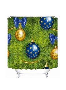 Golden and Blue Christmas Balls on the Tree Printing Bathroom 3D Shower Curtain