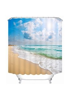Beautiful Beach Scenery by the Sea Printing Bathroom 3D Shower Curtain