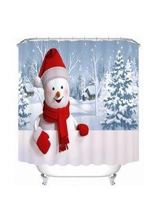 Super Cute Snowman Smiling Printing Bathroom 3D Shower Curtain