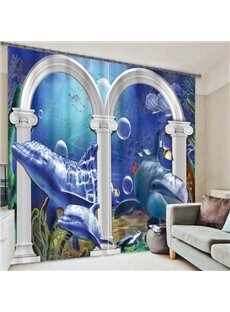 Dolphins through the Door Printing 3D Curtain