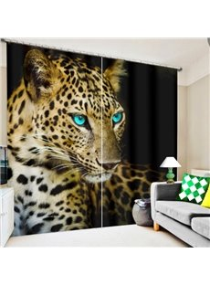 Ferocious Leopard with Blue Eyes Printing 3D Curtain