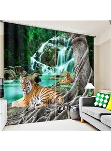Couple Tigers Crouching near the Waterfall Printing 3D Curtain
