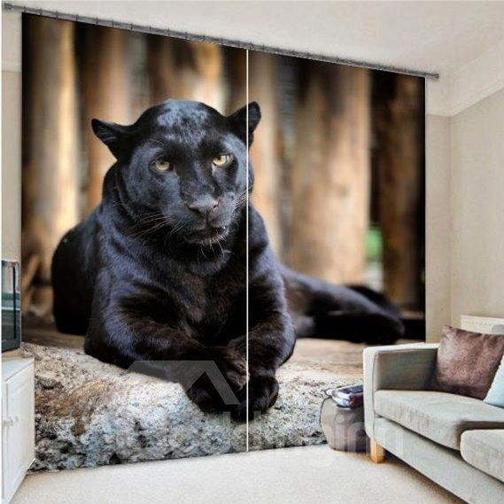 3d Ferocious Crouching Panther Printed Animal Decoration Pic