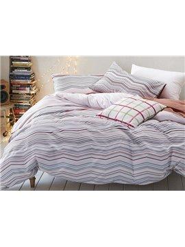Original Wave Stripe Print 4-Piece Cotton Duvet Cover Sets