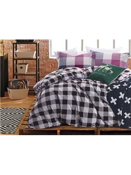 Popular Plaid Print 4-Piece Cotton Duvet Cover Sets