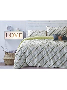 Concise Plaid Print White Cotton 4-Piece Duvet Cover Sets