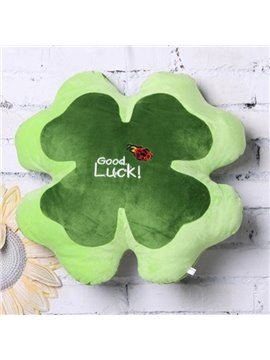 Gorgeous Four-leaf Clovers Shape Plush Throw Pillow