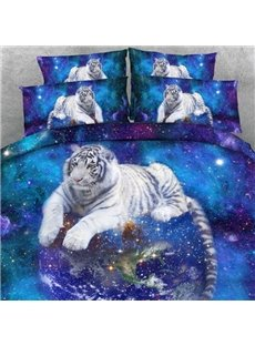 White Tiger and Galaxy 3D Printed 2-Piece Pillow Cases