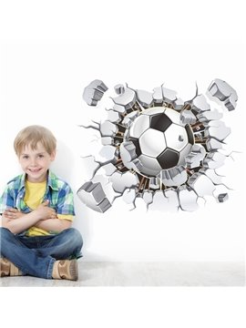 Fancy Creative Football Through a Broken Hole Pattern Home Decorative 3D Wall Stickers