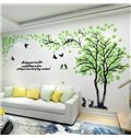 Trees and Birds Pattern Acrylic Vintage 3D Wall Stickers