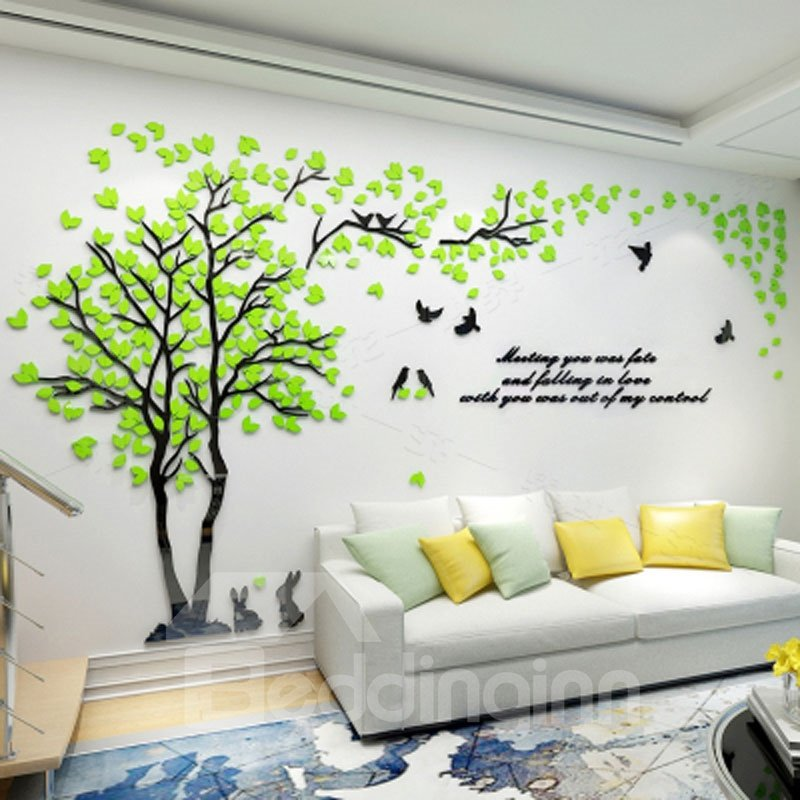 Trees And Birds Pattern Acrylic Eco Friendly Waterproof
