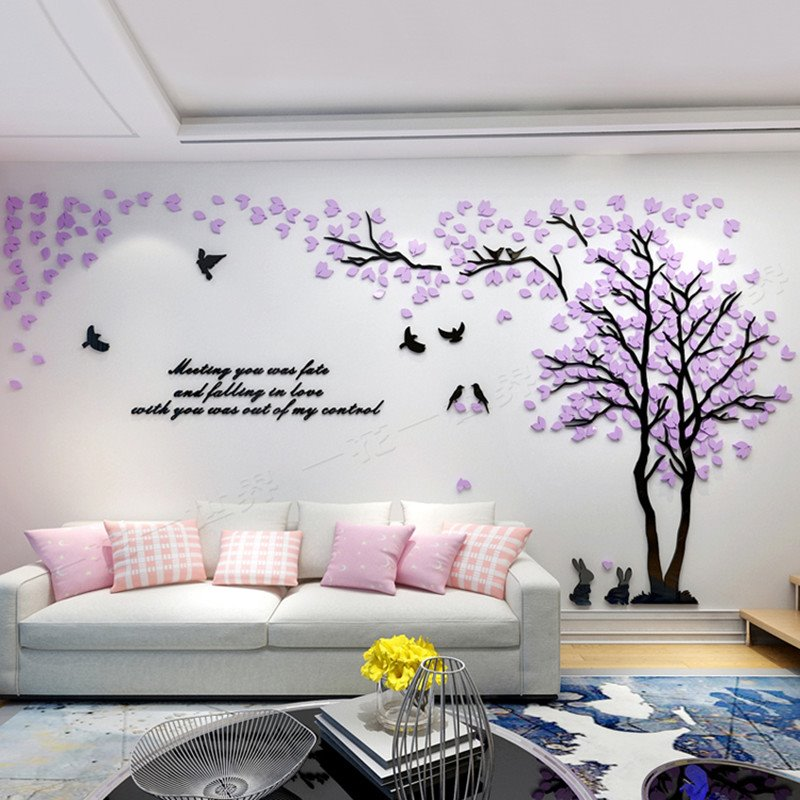 55 Trees And Birds Pattern Acrylic Eco Friendly Waterproof Self Adhesive 3D Wall  Stickers