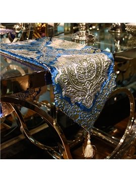 Luxury Fabric Rectangle European Style Flower Pattern Washable Home Decorative Table Runner