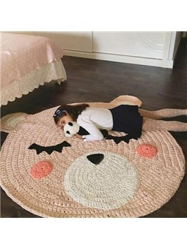 Cute Cartoon Bear Design Knitted Crochet Kids Rug