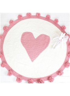 Super Cute Pink Circle Design Knit Rug