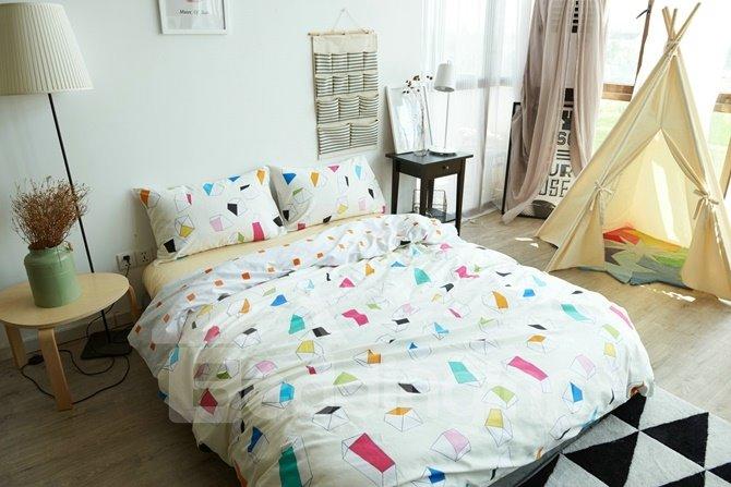 Charming Colorful Geometric 4-Piece Cotton Duvet Cover Sets
