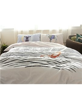Special Fishtail and Water Wave Print 4-Piece Cotton Duvet Cover Sets