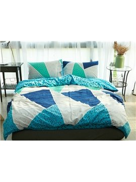 Chic Geometric Design Blue 4-Piece Cotton Duvet Cover Sets