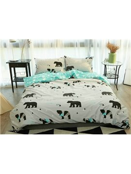 Concise Bear Print 4-Piece Cotton Duvet Cover Sets