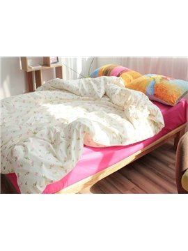 Lovely Pink Floret Print 4-Piece Cotton Duvet Cover Sets