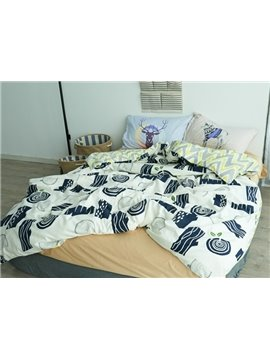 Simple Design Wooden Stake Print 4-Piece Cotton Duvet Cover Sets
