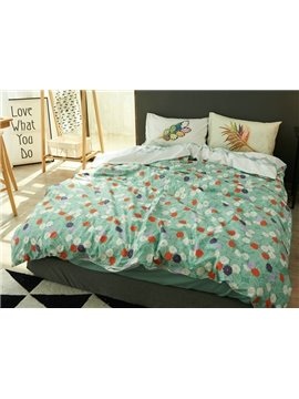 Fresh Green Leaves and Flower Print 4-Piece Cotton Duvet Cover Sets