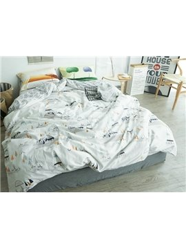 Concise Plant Print White 4-Piece Cotton Duvet Cover Sets