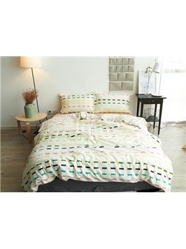 Concise Design Reversible 4-Piece Cotton Duvet Cover Sets