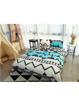Unique Geometric Pattern Print 4-Piece Cotton Duvet Cover Sets