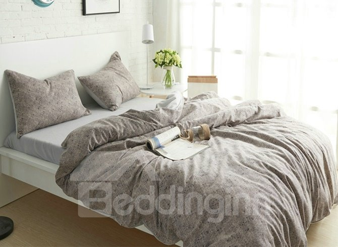 Solid Grey Nordic Style Thick Brushed Cotton 4-Piece Bedding Sets/Duvet Cover