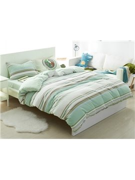 Fresh Stripe Design 4-Piece Cotton Duvet Cover Sets