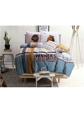 Fancy Letter Print 4-Piece Cotton Duvet Cover