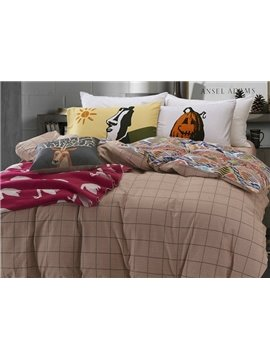 Intelligent Design Plaid Print 4-Piece Cotton Duvet Cover Sets