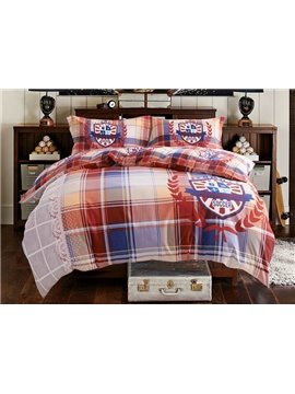Excellent Sports Plaid Print 4-Piece Cotton Duvet Cover Sets