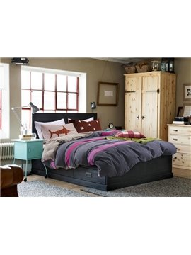 Concise Color Block 100% Cotton 4-Piece Duvet Cover Sets