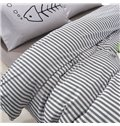 Unique Stripe Print 100% Cotton 4-Piece Duvet Cover Sets