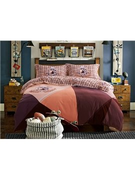 Modern Color Block 4-Piece Cotton Duvet Cover Sets