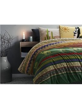 Superb Exotic Style Camel Print 4-Piece Cotton Duvet Cover Sets