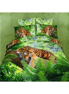 Fresh Green 3D Tiger Printed Cotton 2-Piece Pillow Cases