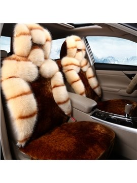 Fashion Brown With Side Large Plush Design Fantastic Universal Car Seat Cover
