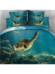 Swimming Turtle Blue Ocean Print 2-Piece Pillow Cases