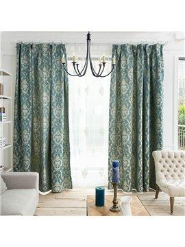 Concise European Style Jacquard Damask Pattern Custom Curtain