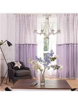 Dreamy Purple Romantic Chenille Jacquard and Embroidery Custom Curtain