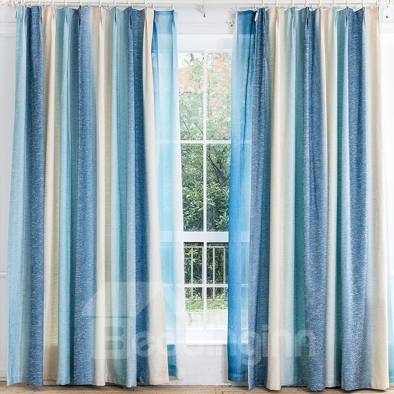 Mediterranean Style Blue Stripes Cotton & Linen Blending